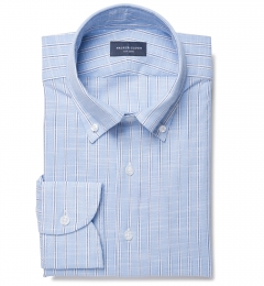 Canclini Blue Slub Stripe Fitted Shirt
