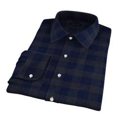 Canclini Navy Tonal Plaid Beacon Flannel Men's Dress Shirt