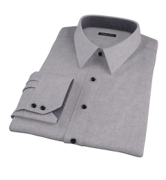 Canclini Grey Herringbone Flannel Dress Shirt