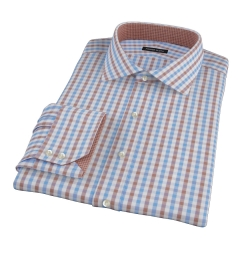 Thomas Mason Blue & Brown Gingham Men's Dress Shirt