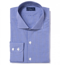 Canclini Royal Blue Mini Gingham Fitted Dress Shirt