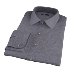 Canclini Charcoal Herringbone Flannel Fitted Shirt