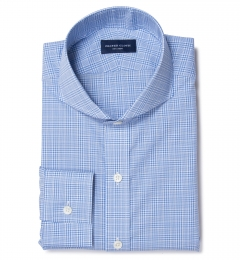 Thomas Mason Light Blue Glen Plaid Custom Dress Shirt