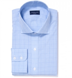 Carmine Light Blue Prince of Wales Check Custom Dress Shirt