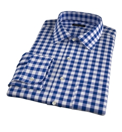 100s Royal Blue Large Gingham Fitted Shirt