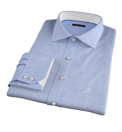 Thomas Mason Light Blue Prince of Wales Check Tailor Made Shirt