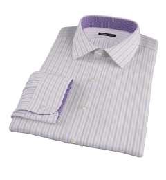Canclini 120s Lavender Brown Stripe Custom Made Shirt