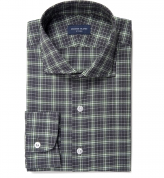 Sullivan Green and Grey Melange Check Men's Dress Shirt