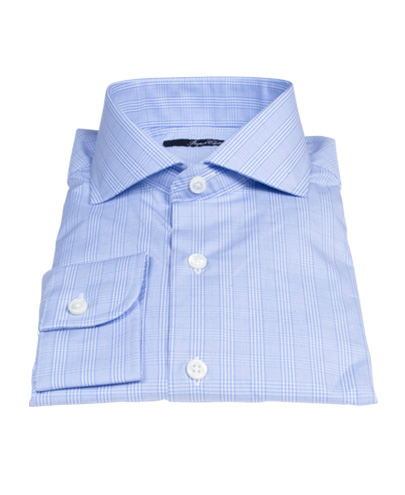 Light Blue Glen Plaid Men's Dress Shirt 