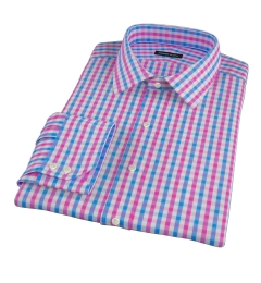 Pink and Blue Gingham Men's Dress Shirt