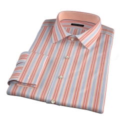 Albini Orange and Blue Summer Stripe Fitted Dress Shirt