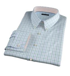 Thomas Mason Green Multi Check Custom Dress Shirt