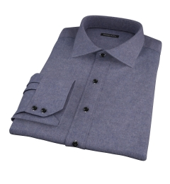 Slate Blue Heathered Flannel Custom Dress Shirt