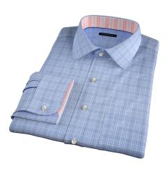 Carmine Light Blue Prince of Wales Check Custom Made Shirt