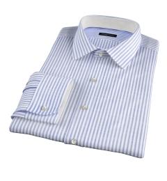 Albini Light Blue Chambray Stripe Fitted Dress Shirt