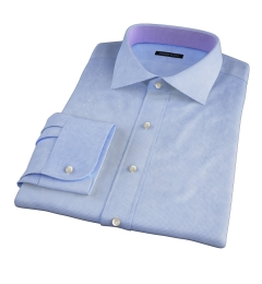 Grandi and Rubinelli Light Blue Houndstooth Linen Tailor Made Shirt