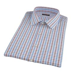 Thomas Mason Brown Multi Gingham Short Sleeve Shirt