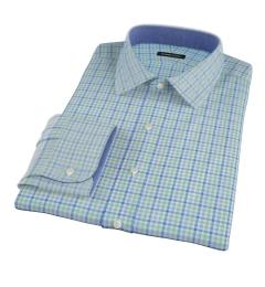 Thomas Mason Green Blue Check Fitted Dress Shirt
