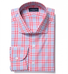 Amalfi Hibiscus and Blue Multi Check Custom Dress Shirt