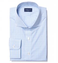 Novara Light Blue 120s Check Fitted Dress Shirt