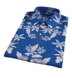 Positano Blue Floral Print Short Sleeve Shirt