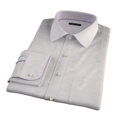 Portuguese Beige Cotton Linen Herringbone Custom Dress Shirt