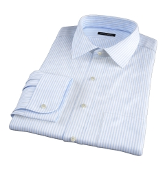 140s Light Blue Wrinkle-Resistant Bengal Stripe Dress Shirt