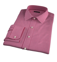 Melrose 120s Red Mini Gingham Fitted Dress Shirt