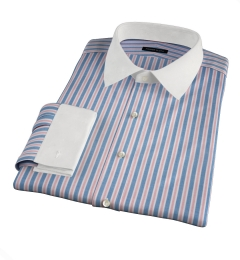 Albini Blue and Red Summer Stripe Fitted Shirt