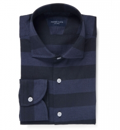 Portuguese Blue Cotton Linen Barre Stripe Fitted Dress Shirt