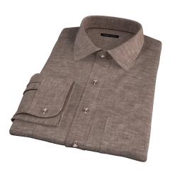 Canclini Brown Linen Dress Shirt