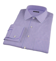 Canclini Purple and Blue Multi Gingham Fitted Dress Shirt