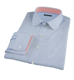 Light Blue Cavalry Twill Herringbone Fitted Dress Shirt
