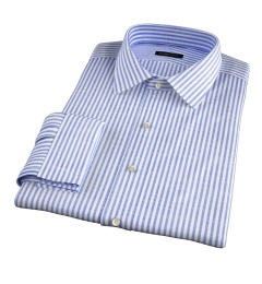 Albini Navy Stripe Oxford Chambray Fitted Dress Shirt