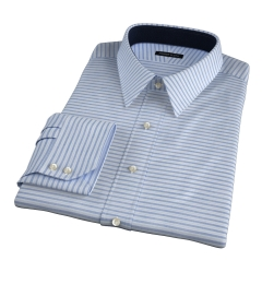 Albini Marine Blue Horizon Stripe Fitted Shirt