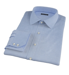 Thomas Mason Blue Mini Houndstooth Fitted Dress Shirt