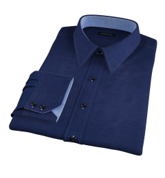 Portuguese Vintage Navy Cotton Linen Herringbone Men's Dress Shirt