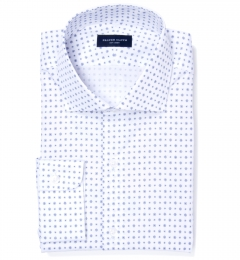 White and Blue Mosaic Print Tailor Made Shirt