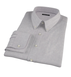 Light Grey Heathered Flannel Dress Shirt