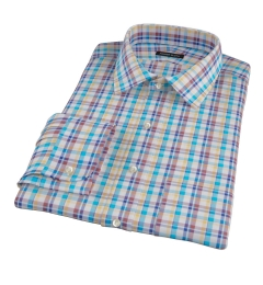 Aqua Brown Cotton Linen Check Custom Made Shirt