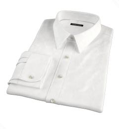 White Cotton Linen Oxford Men's Dress Shirt
