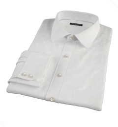 White Basketweave Fitted Dress Shirt