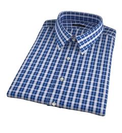 Portuguese Blue Plaid Seersucker Short Sleeve Shirt
