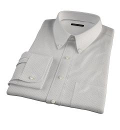 Navy on White Printed Pindot Custom Dress Shirt