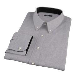 Canclini Grey Herringbone Flannel Fitted Dress Shirt