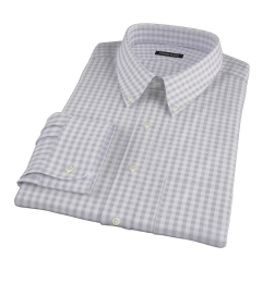 Canclini Grey 120s Gingham Fitted Dress Shirt