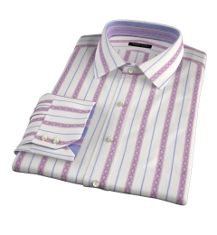 Albini Red Folk Stripe Dress Shirt