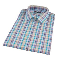 Aqua Brown Cotton Linen Check Short Sleeve Shirt