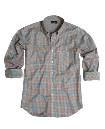 Hazelnut Teal Gingham Twill Men's Dress Shirt