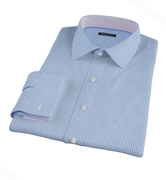 Thomas Mason Luxury Blue Stripe Custom Made Shirt